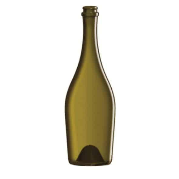 Photo d'une bouteille vide de cidre de 75 cl de teinte cannelle