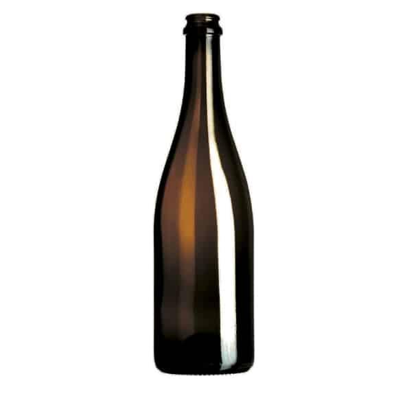 Photo d'une bouteille vide de cidre de teinte cannelle