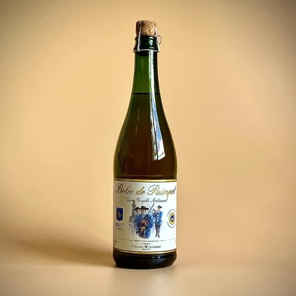 Photo d'une bouteille de cidre de 75 cl teinte verte